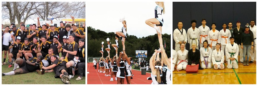 Collage of cheerleading and other club sports