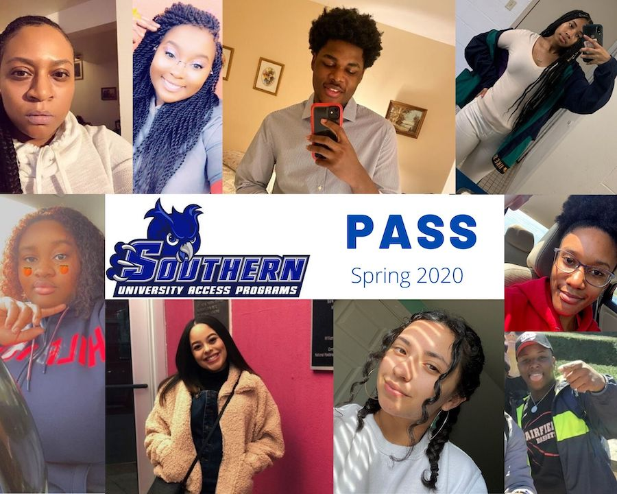 A collage of students with the logo for the University Access Program promoting Spring 2020