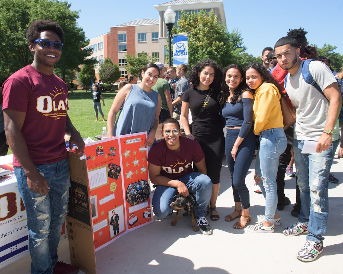 Students at the club fair