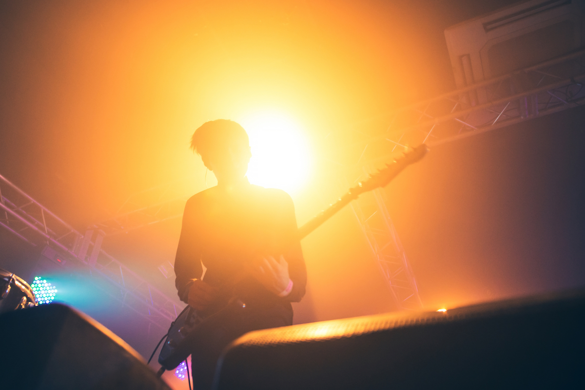 Guitar player in a concert