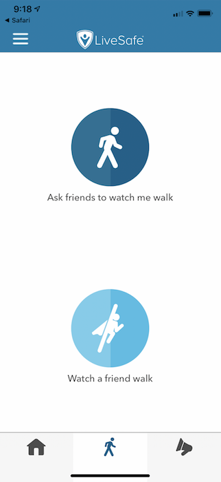 "Image of LiveSafe's ""Watch a Friend Walk"" Tool"