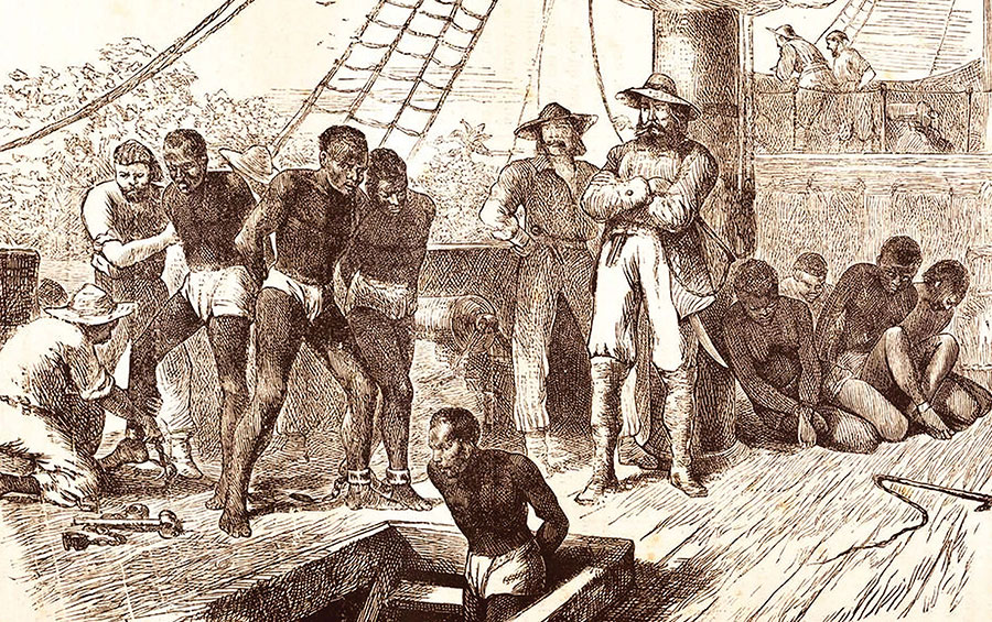illustration of a scene on a slave ship