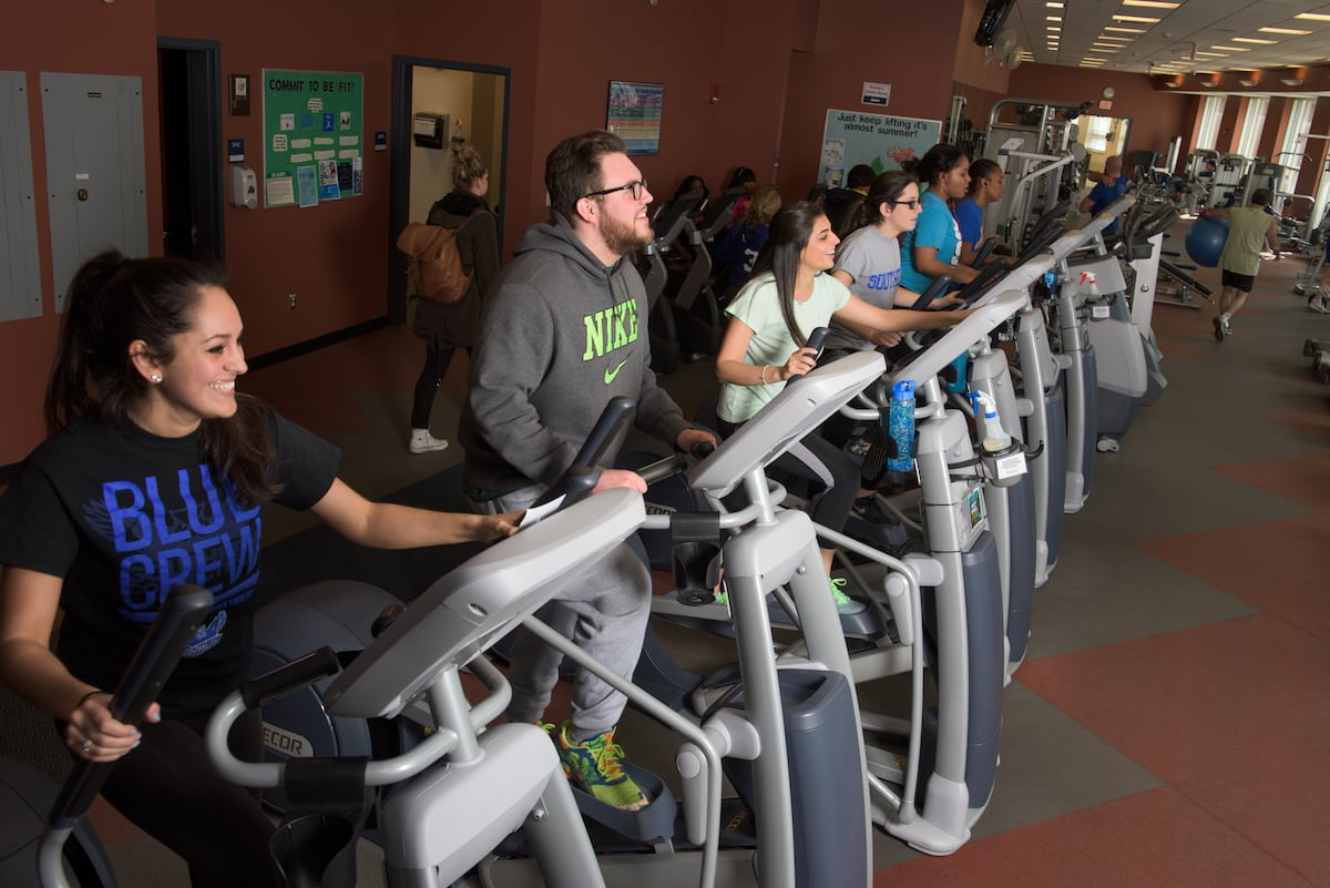 Students working out in treadmills