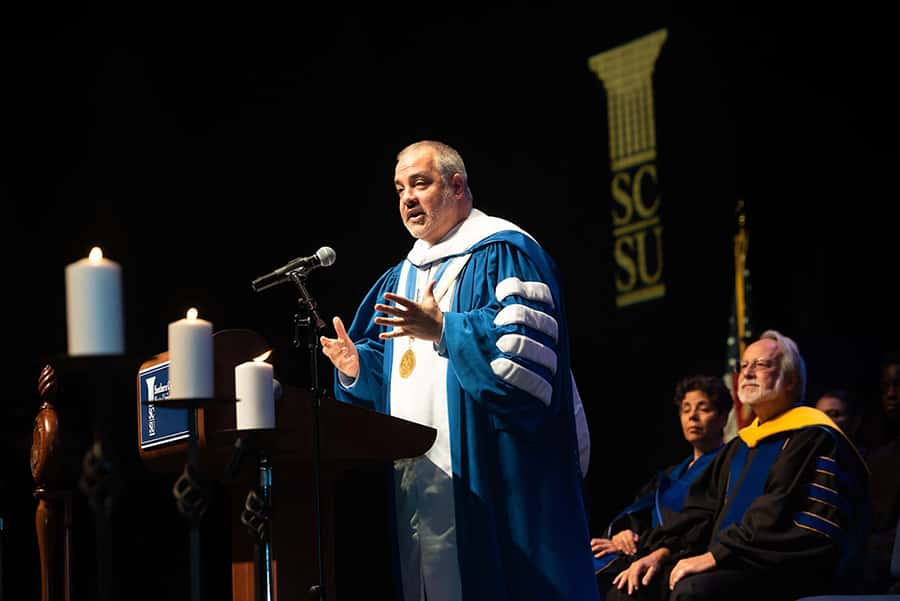 President Joe Bertolino speaks at New Student Convocation