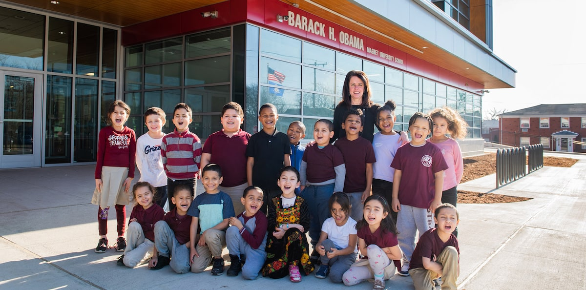 Students and teacher at the Barack H. Obama Magnet University School