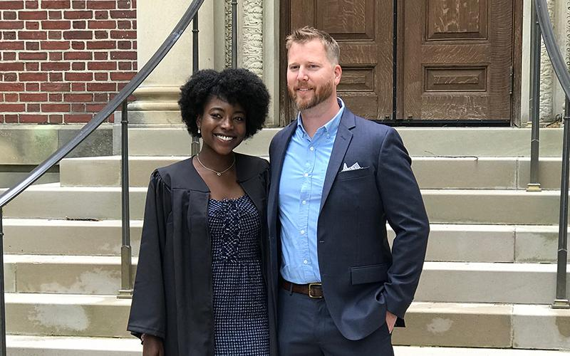 SCSU alumnus Liam Leapley and his former student Alice Obas