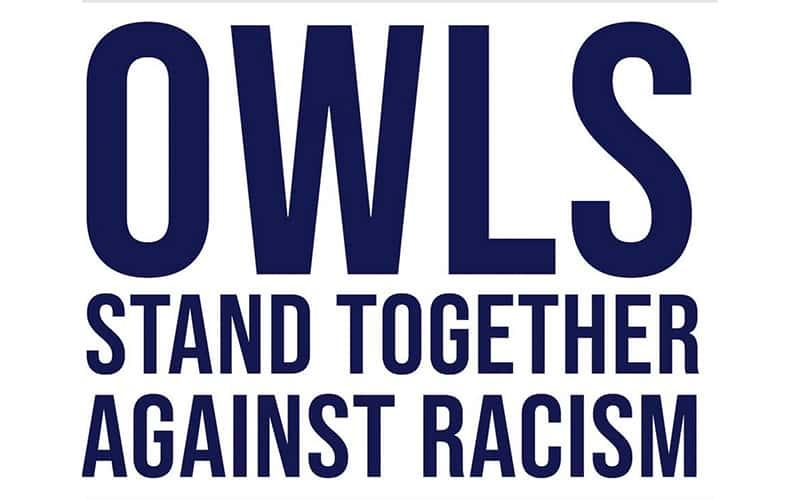 Text: Owls Stand Together Against Racism