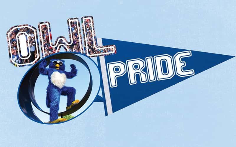 "graphic showing Otus the owl and a pennant that says ""pride"""